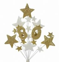 Number age 80th birthday cake topper decoration in gold and white - free postage